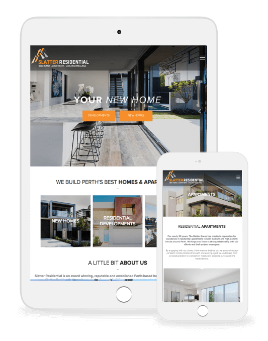 Slatter Residential website on multiple devices