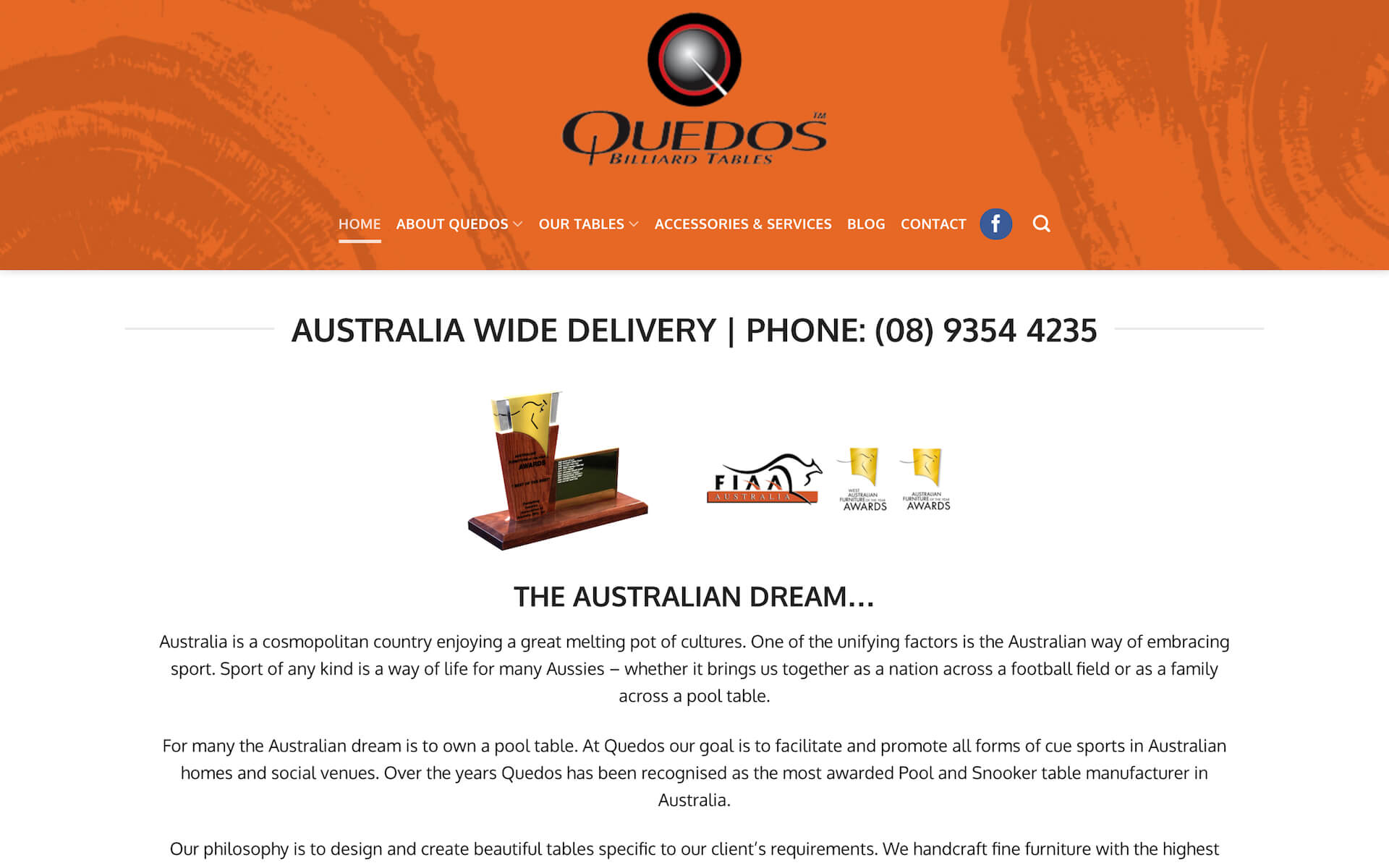 The Quedos website before