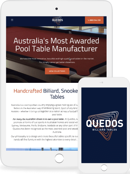 The Quedos website on tablet and mobile